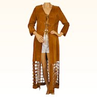 Vintage 1960s Hippie Chic Long Suede Leather Vest with Cage Bottom Size S M