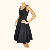 Vintage 1950s Black Party Dress Cotton Pellon Lined Size Small