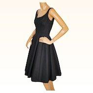 Vintage 1950s Black Party Dress Cotton Pellon Lined Size Small