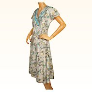 Vintage 1950s Cotton House Dress NOS w Daisy Flower Print New Old Stock Size L 14