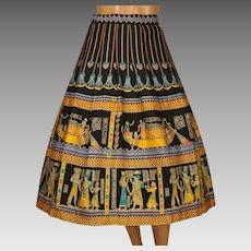 Vintage 1950s Novelty Print Circle Skirt Egyptian Pharaonic Pattern Size L