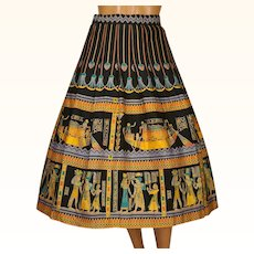 Vintage 1950s Novelty Print Circle Skirt Egyptian Pharaonic Pattern Size L