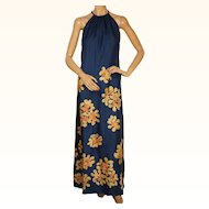 Vintage 1980s Maxi Dress - Blue with Silkscreen Flower Print