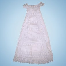 Antique Christening Gown or Baptismal Robe Embroidered Cotton for Baby or Doll