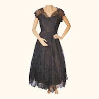 Vintage 1950s Black Chantilly Lace Dress Size Medium