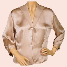 Vintage 1950s Saks Fifth Avenue Silk Blouse Made in France Size L