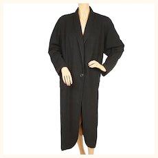 Vintage 1930s Black Wool Coat by Langburne Ladies Size L