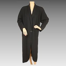 Vintage 1930s Black Wool Coat by Langburne Ladies Size L