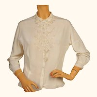 Vintage 1950s Silk Blouse Made in Austria with Eyelet Embroidery Size 36