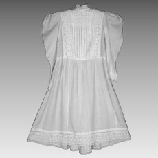 Antique Victorian Young Girls Cotton Embroidered Dress 1890s
