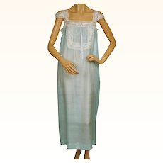 Vintage 1920s Silk Nightie Pongee Nightgown Bluish Green w Lace Trim