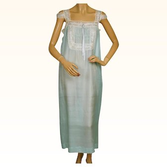 Vintage 1920s Silk Nightie Pongee Nightgown Bluish Green w Lace Trim