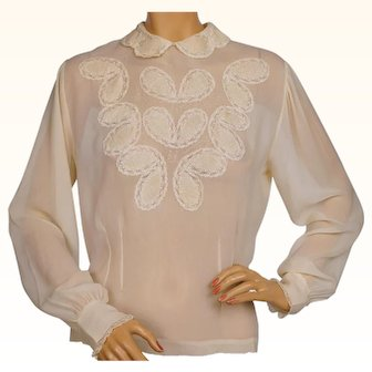 Vintage 1940s Silk Chiffon Blouse with Lace Insetting Cream White Size Large