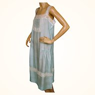 Vintage 1920s Flapper Slip Turquoise Pongee Silk w Lace Trim Ethereal