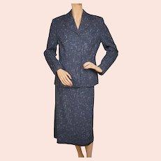 Vintage 1940s Ladies Skirt Suit Flecked Linear Pattern Size Medium