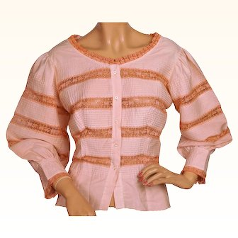 Vintage 1950s Pink Cotton Blouse Top w Lace Insetting by D'Allairds Canada Size L
