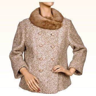 Vintage 1960s Boucle Wool Jacket w Mink Collar Monteselli Lamba Ladies Size M