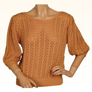 Vintage 1940s Hand Knit Wool Pullover Sweater Cinnamon Orange Ladies Size M L