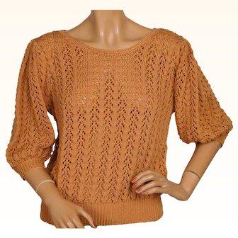 Vintage 1940s Hand Knit Wool Pullover Sweater Cinnamon Orange Ladies Size M L