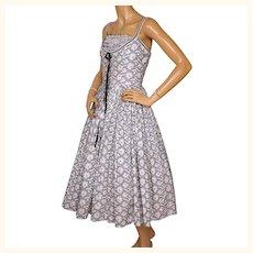 Vintage 1950s White Cotton Crinoline Dress w Black Floral Print Size Medium