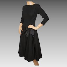 Vintage 1950s Cocktail Party Dress Black Wool and Satin Size M