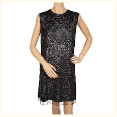 Vintage 1960s Black Sequin Dress Fully Sequinned & Beaded Ladies Size M