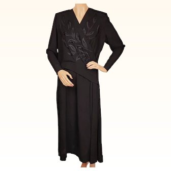 Vintage 1940s Black Crepe Dress with Embroidered Bodice - Ann MacLeod Gowns - L