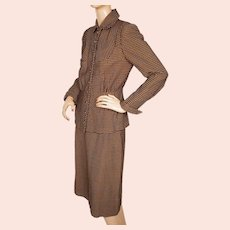 Vintage 1940s Ladies Skirt Suit Checked Pattern Size Medium