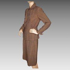 Vintage 1940s Ladies Skirt Suit Checked Pattern Size Medium