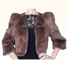 Vintage 1930s Dyed Sheared Rabbit Fur Jacket w Bakelite Clips Size S M