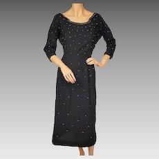 Vintage 1950s Bombshell Dress Jerry Gilden Spectator Studded Black Wool M L
