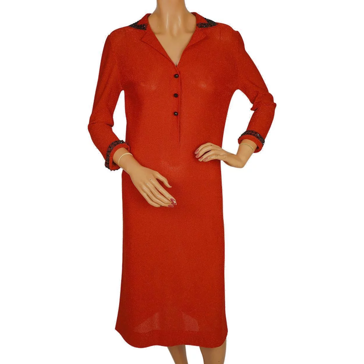 a5e96110fc Vintage 1960s Red Sparkle Knit Dress by Luisa Spagnoli Perugia Italy :  Poppy's Vintage Clothing | Ruby Lane