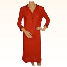 Vintage 1960s Red Sparkle Knit Dress by Luisa Spagnoli Perugia Italy Size Medium