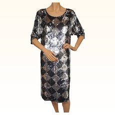 Vintage 1980s Sequin Dress by Nolan Miller the Dynasty Collection