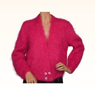 Vintage 1960s Shocking Pink Mohair Wool Sweater - Ladies - L