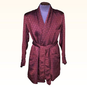 Vintage 1940s Smoking Jacket Satin Circles Bonnington Short Lounging Robe Size M