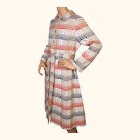 Vintage 1960s Patriotic Checked Stripe Red White Blue Coat 1963 Ladies Size M L