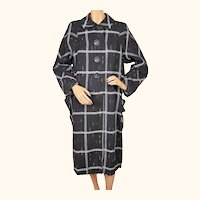 Vintage 1950s Checked Grey Wool Swing Coat with Coloured Flecks Ladies Size L