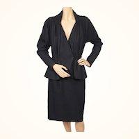 Vintage 1950s Black Wool Suit - Saks Fifth Ave - Debutante Shop - Martini Designed - S