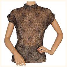 Vintage 1940s Black Metallic Lace Blouse Size M