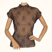 Vintage 1940s Black Metallic Lace Blouse Size M