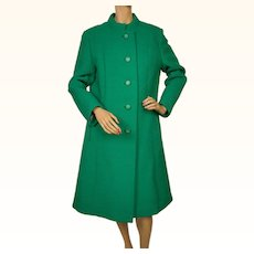 Vintage 1970s Green Ribbed Wool Coat Made in Canada DAllairds Ladies Size M