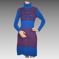 Vintage B Altman Sweater Dress Mohair Wool Made in Italy 1960s Size M