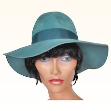 Vintage 1960s Teal Blue Felt Hat - Ladies Fedora by Edward Mann