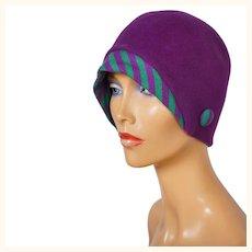 Vintage 1960s Purple Cloche Hat with Knit Brim - Boutique Kates - Canada