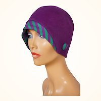 Vintage 1960s Purple Cloche Hat with Knit Brim - Boutique Kates - Canada