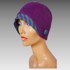 Vintage 1960s Purple Cloche Hat with Knit Brim - Boutique Kates - Canada 45bbbd01bc94