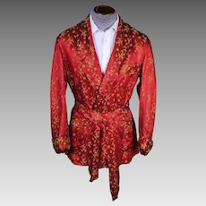 Vintage 1950s Mens Smoking Jacket Red Satin Short Lounging Robe By Rochester