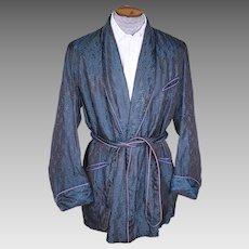 Vintage 1940s Blue Smoking Jacket Bonnington Short Lounging Robe Mens Size Large