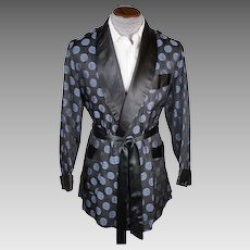 Vintage Smoking Jacket by Majestic Blue Medallion on Black 1950s Mens Size M
